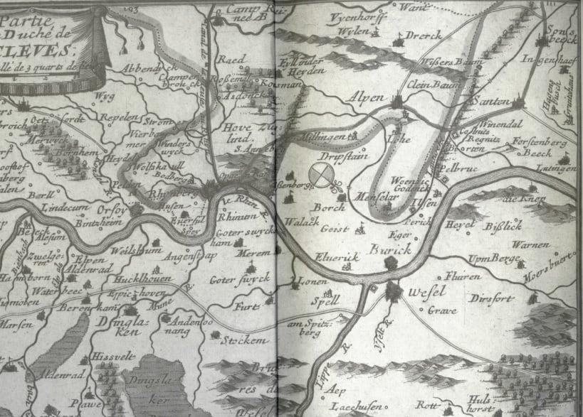 Das Bild zeigt eine historische Karte von Voerde und der Umgebung