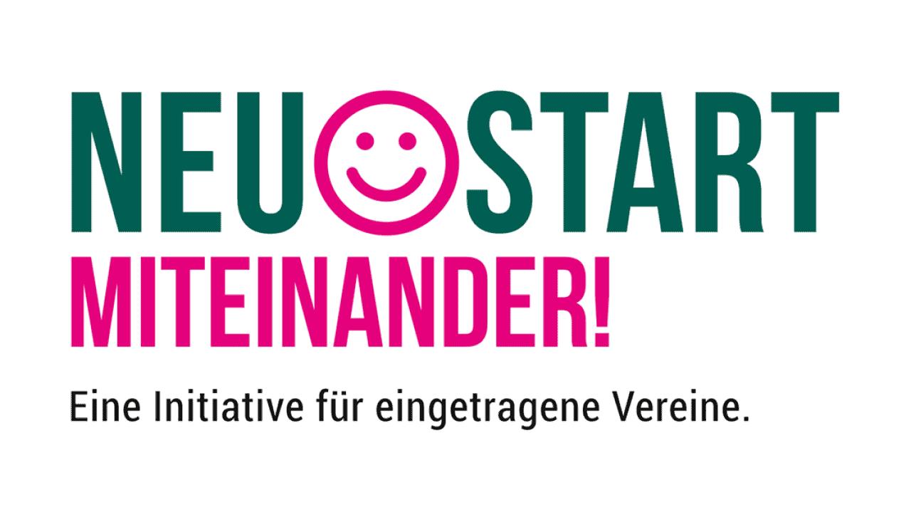 """Das Bild zeigt das Logo des Förderprograms """"Neustart Miteinander"""""""