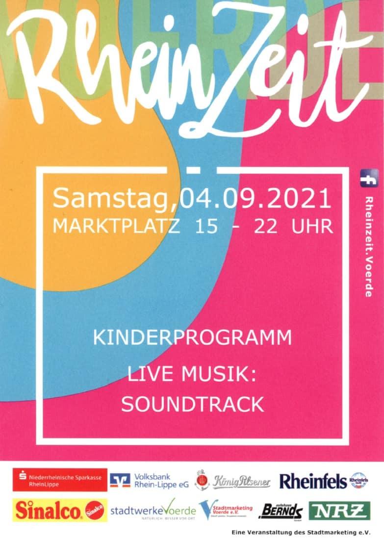 Das Bild zeigt das Plakat für die RheinZeit am 04.09.2021
